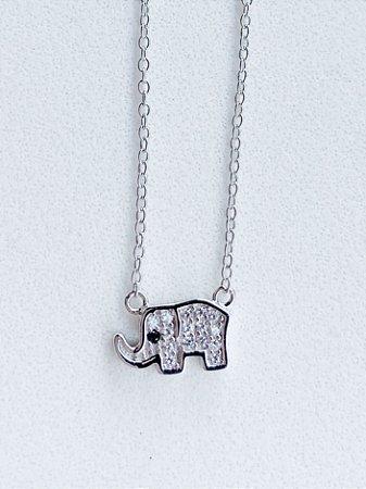 Colar Elefante Prata Rodinada