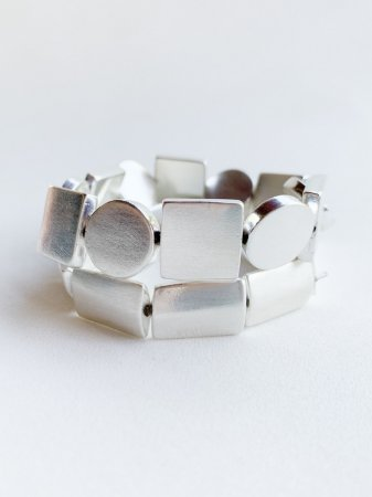 Bracelete Duplo Geométrico Banho de Prata