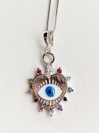 Colar Coração Olho Grego Semijoia