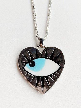 Colar Coração Olho Semijoia