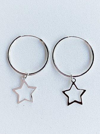 Argola Estrela Prata