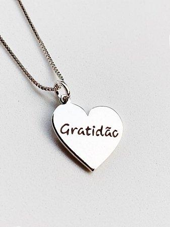 Colar Coração Gratidão Semijoia