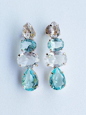 Brinco Gota de Cristal Semijoia