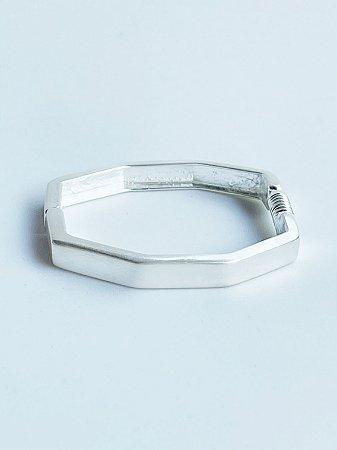 Bracelete Hexágono Banho de Prata