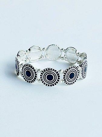 Bracelete Círculos Esmaltados Banho de Prata