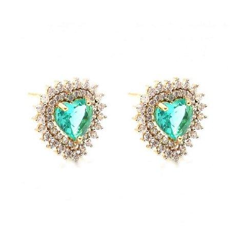 Brinco Coração Pedra Verde Paraiba Zirconia Cristal