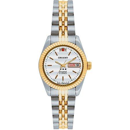 Relógio Analógico Automático Prata com Dourado