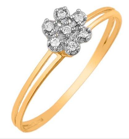 Anel flor Ouro 18K Diamante 7 Brilhantes