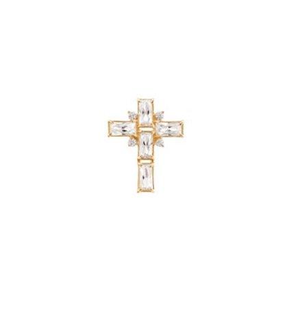 Pingente cruz cristal zircônia baguete ouro 18k