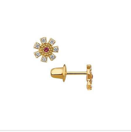 Brinco ouro 18k flor zircônia cristal com zircônia vermelha no centro