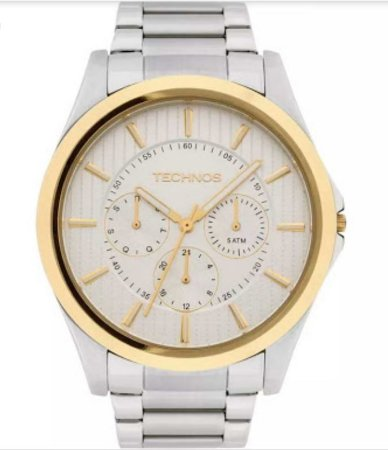 Relógio Technos Prata com a caixa dourada