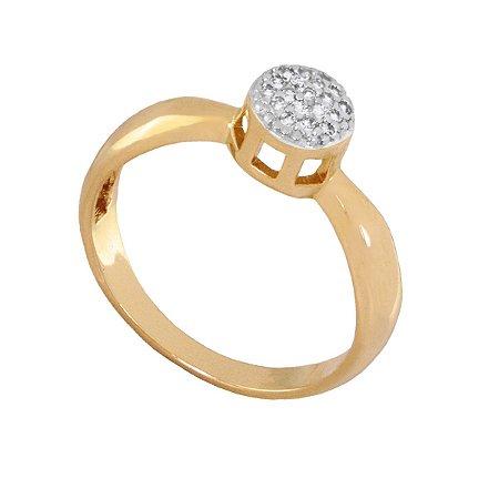 Anel Ouro 18k com Diamantes - Aro: 13 ao 20