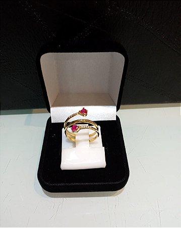 Anel pedras vermelhas e brancas Aro:19 prata com banho de ouro 18k