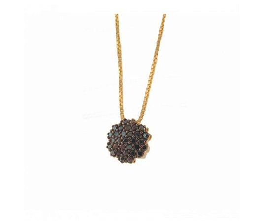 Gargantilha Prata 925 com Banho de Ouro 18k Chuveiro Zircônias Negras