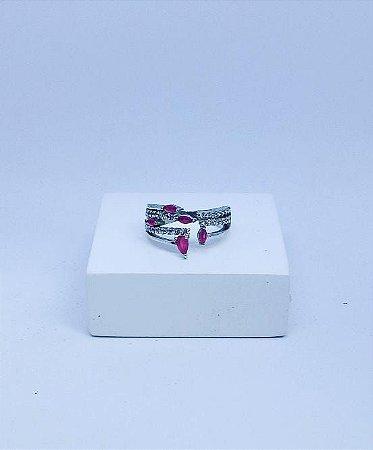 Anel de Prata Zirconias rosas