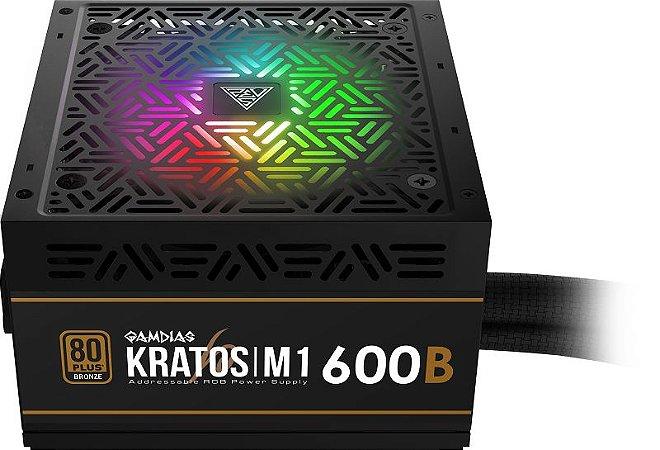 Fonte ATX 600W Kratos Gamdias M1-600W-RGB 80 Plus