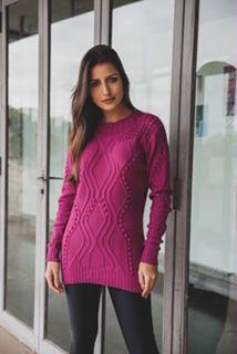 Blusa tricot com detalhes na frente