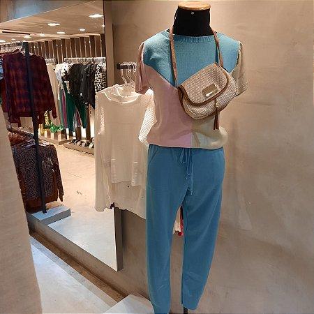 Conjunto comfy em trico azul