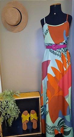 Vestido de alça tropical