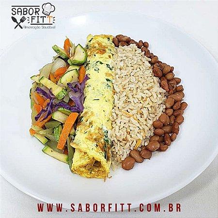 Omelete Recheado, Arroz Integral, Mix de Vegetais e Feijão Carioca (350 Gramas)