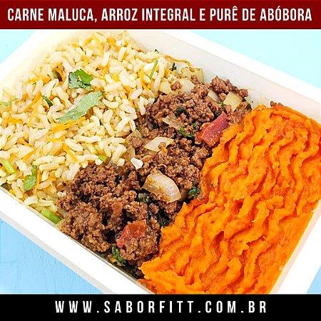 Carne Maluca, Arroz Integral e Purê de Abóbora (350 Gramas)
