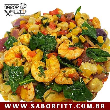 Camarão Refogado + Salada de Grão de Bico ( 250 Gramas)