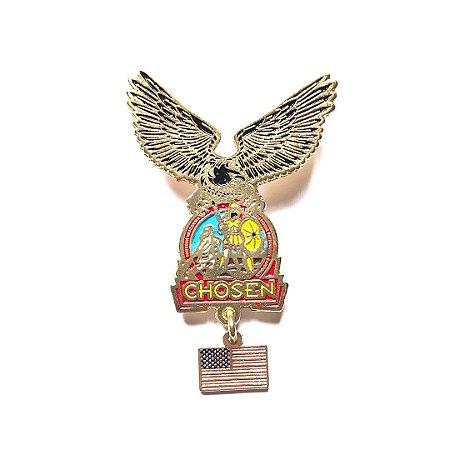 Pin, Águia com logo Chosen e pingente USA