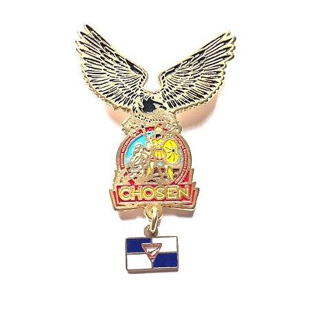Pin, Águia com logo Chosen e pingente da bandeira dos desbravadores