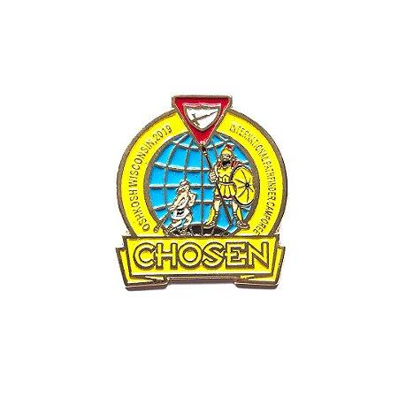 Pin Chosen, redondo com fundo nas cores das classes