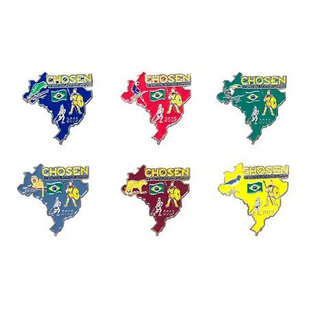 set de Pins Chosen, Mapa do Brasil, com Animais da fauna Brasileira