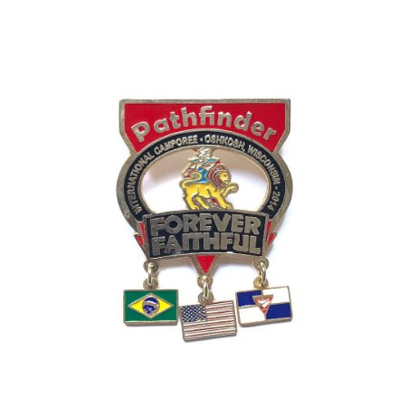 Pin Forever Faithful, Pathfinder, Com 9 bandeirinhas e fundo vazado