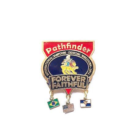 Pin Forever Faithful, Pathfinder, Com 9 bandeirinhas e fundo nas cores das classes