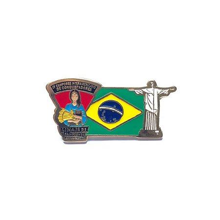 Pin, Linaje de Campeones, Bandeira do Brasil com Cristo Redentor