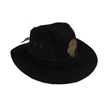 Chapéu de couro preto, com logo D3 metal
