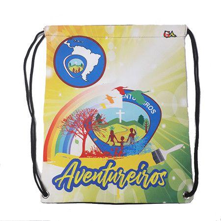 Mochila sacola, AVT, logo A4, e arco-íris