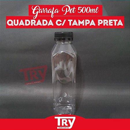 Garrafa Pet 500ml Tampa Preta com Lacre 100 unidades