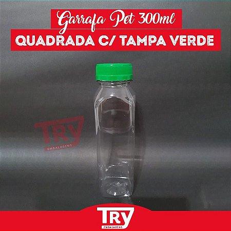 Garrafa Pet 300ml Tampa Verde com Lacre 100 unidades