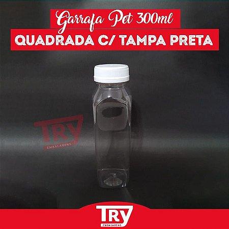Garrafa Pet 300ml Tampa Branca com Lacre 100 unidades