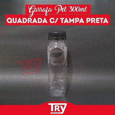 Garrafa Pet 300ml Tampa Preta com Lacre 100 unidades