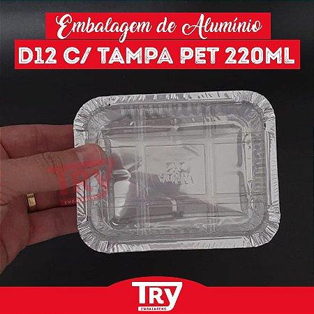 Embalagem Retangular De Alumínio 220ml Tampa Pet Wyda 100und