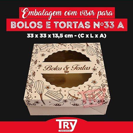 Caixa p/ Tortas, Bolos, Doces, Salgados Nº33 C/ Visor 5uni Estampado