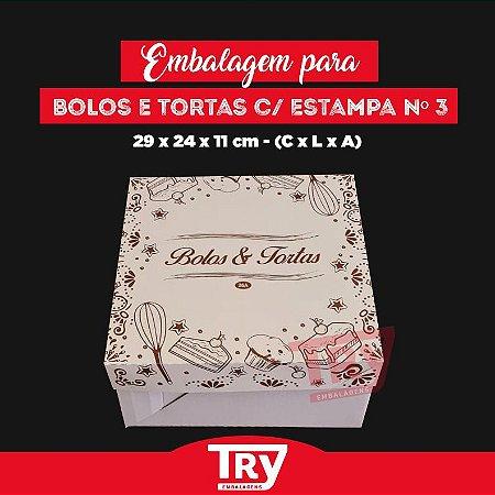 Caixa p/ Tortas, Bolos, Doces, Salgados Nº3 (até 1,8kg) 5un Estampado