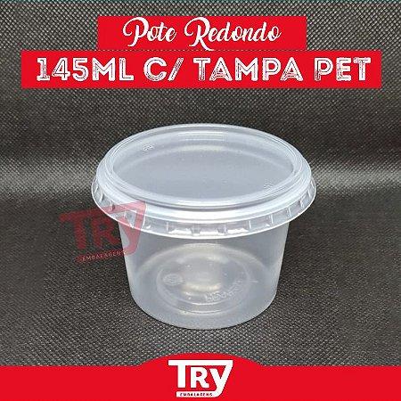 Pote Redondo Plástico 145ml c/ Tampa  24 Unidades