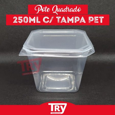 Pote Quadrado 250ml com Tampa Prafesta com 20 Unidades