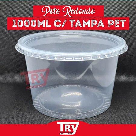 Pote De Plástico Redondo 1000ml Prafesta Com 24 Unidades