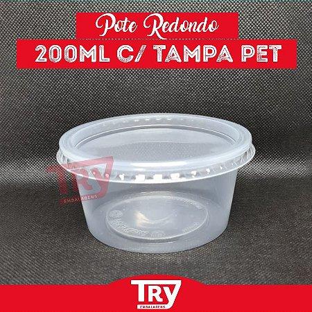 Pote Plástico Redondo C/tampa 200ml C/24 Unidades