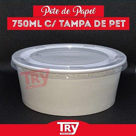 Pote De Papel 750ml Tampa Pet Saladas Porções Sobremesas 25 Unidades