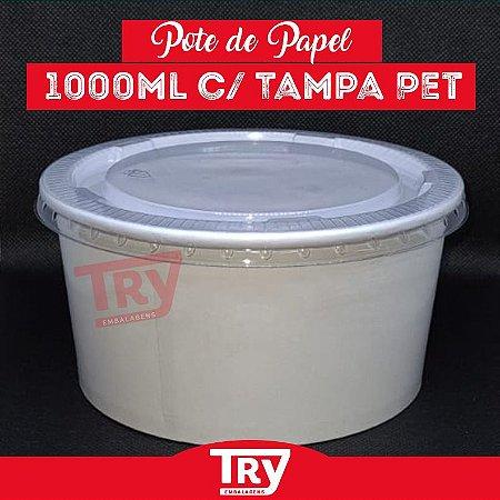 Pote De Papel 1000ml Tampa Pet Salada Porções Sobremesas 25 unidades