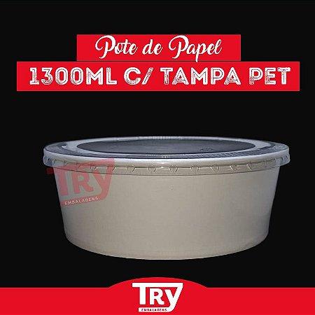 Pote De Papel 1300ml Tampa Pet Salada Porções Sobremesas 25 Unidades
