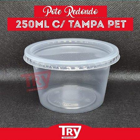 Pote De Plástico Redondo 250ml Prafesta Pct Com 24 Unidades